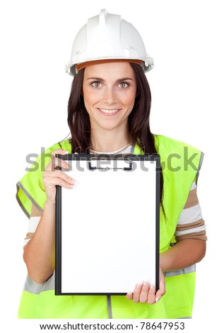 Attractive worker with reflector vest isolated on a over a white background