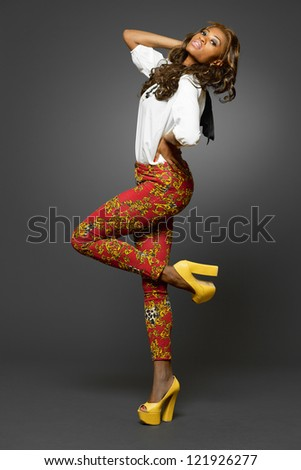 Attractive young African-american fashion model.