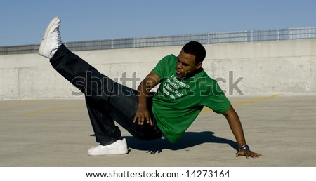 Attractive young African American male playing posing.