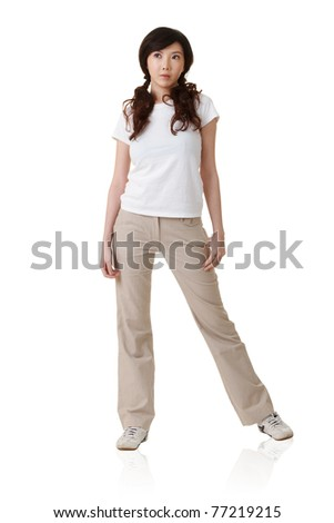 Attractive young Asian woman, full length portrait isolated on white background.