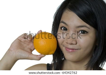 Attractive young Asian woman holding an Orange
