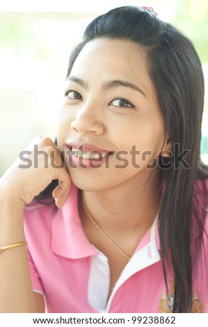 Attractive Young asian woman with smiling