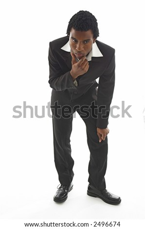 Attractive young black guy in smart business suit thinking hard.
