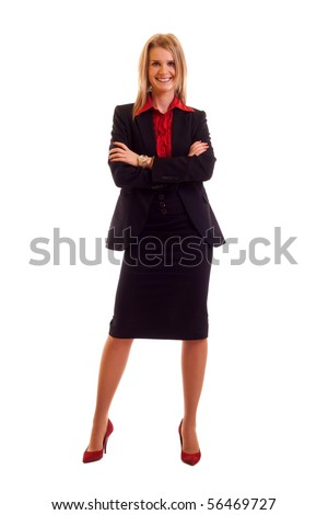Attractive young blond businesswoman isolated on white background