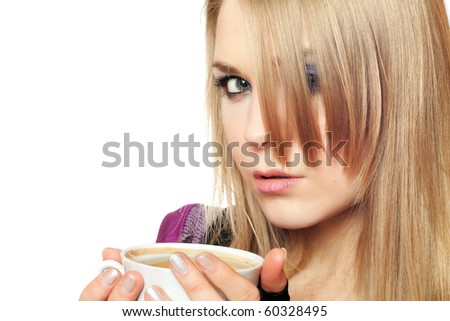 Attractive young blonde with a cup of tea