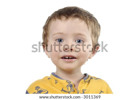 attractive young boy up-close isolated over a white background