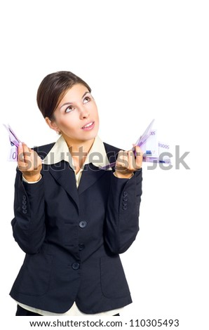Attractive young brunette businesswoman. Isolated against white background.