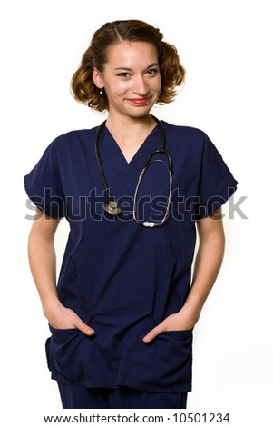 Attractive young brunette woman health care worker standing with a smiling friendly expression over white