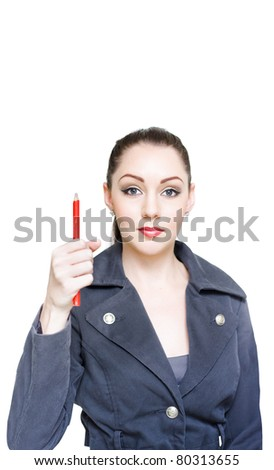 Attractive Young Business Woman Gesturing Business In On The Rise When Pointing Up To Blank Text Copyspace With A Pencil In A Bull Stock Market Concept