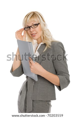 Attractive young businesswoman holding folder.