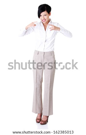 Attractive young businesswoman. Vertical. Front view. Isolated on white.