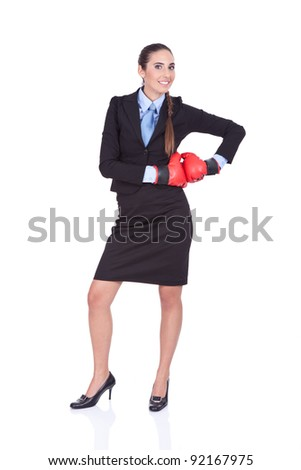 attractive young , Businesswoman with boxing gloves, isolated on white background