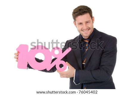 Attractive young caucasian businessman showing ten percent discount sign. Studio shot. White background.