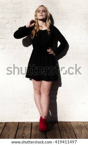 Attractive Young Caucasian Woman Standing Outdoors Black Dress Red Shoes #419411497