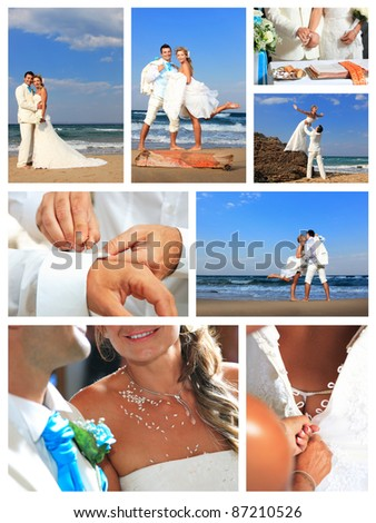 attractive young couple in wedding dress on the beach