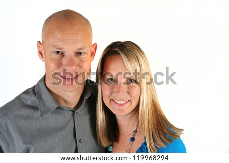 Attractive young couple isolated on white background