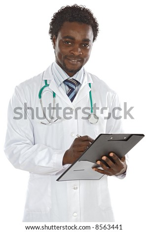 attractive young doctor writing a over white background