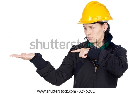 Attractive young engineer indicating a hand empty (you can fill it with any thing)