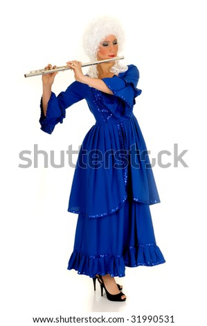 Attractive young female flautist wearing baroque dress.  Studio shot, white background. - stock photo