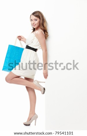 Attractive young girl with a bag
