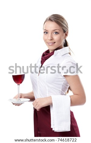 Attractive young girl with a glass of wine on a white background