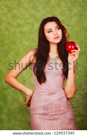 attractive  young  girl with apple
