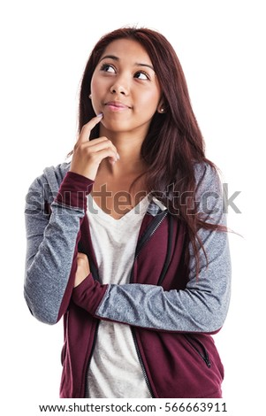 Attractive young Hispanic woman standing with a contemplative expression on her face; isolated on white.