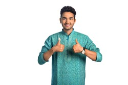 Attractive Young Indian Man Showing Thumbs Up Sign, Isolated on White and Wearing a Kurta