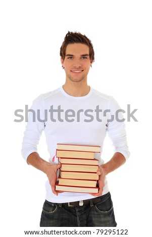 Attractive young man carrying pile of books. All on white background.