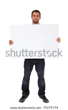 Attractive young man holding blank white sign. All on white background.