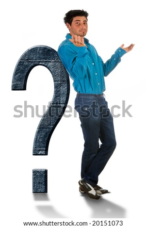 Attractive young man leaning against a big question mark