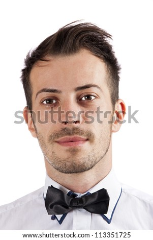 Attractive young man with a beard isolated over white background