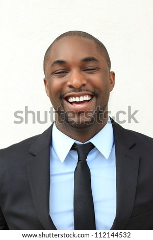 Attractive, Young Professional African American Businessman Smiling and Laughing