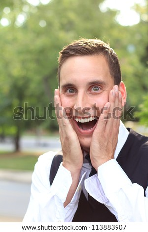 Attractive, Young Professional Businessman Man Shocked and Confused