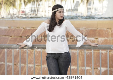 Attractive young 70's style woman #43891606
