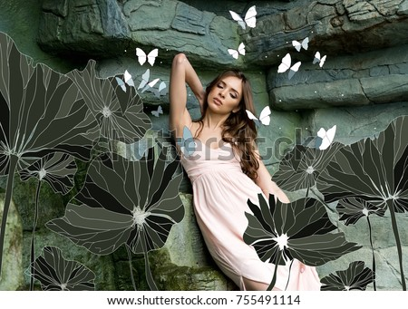 Stock Photo attractive young seductive woman posing with drawn plants and butterflies flying around