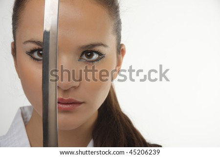 stock photo attractive young sexy women with samurai sword on white background 45206239 young actresses turned sexy women 27 More young actresses that transformed ...