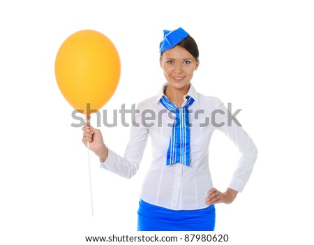 Attractive young stewardess isolated over white background