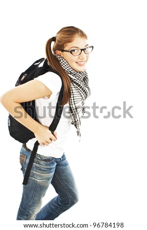 Attractive young student going to school college , smiling. Isolated on white background. - stock photo