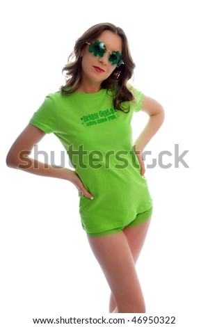 attractive young woman all dressed up for st patties day