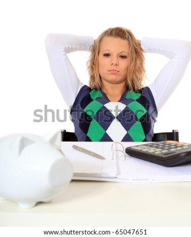 Attractive young woman finished her housekeeping budgeting. All on white background.