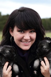 Attractive young woman holds two adorable purebred Norweigian Elkhound puppies.