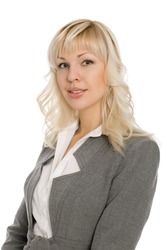 Attractive young woman in a business suit.