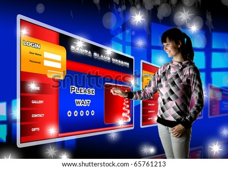 Attractive young woman in futuristic interface