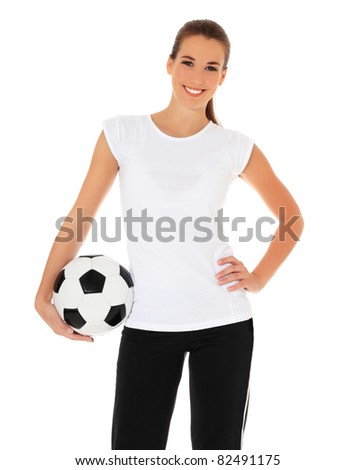 Attractive young woman in sports wear holding soccer ball. All on white background.