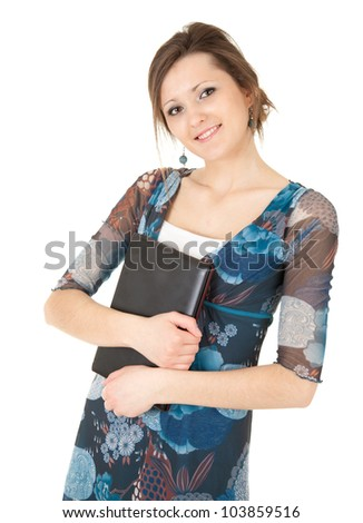 attractive young woman keeping laptop, white background