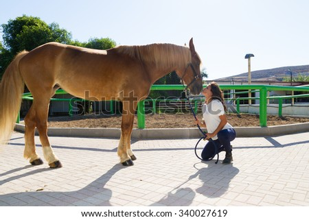 Attractive young woman kissing the nose of her horse, and prepares the animal for grooming.