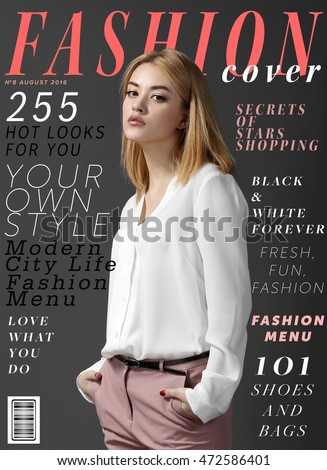 Attractive young woman on fashion magazine cover.  Fashionable lifestyle concept. #472586401