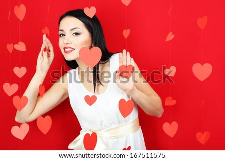 Attractive young woman on Valentine Day