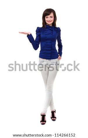 Attractive young woman posing against isolated white background